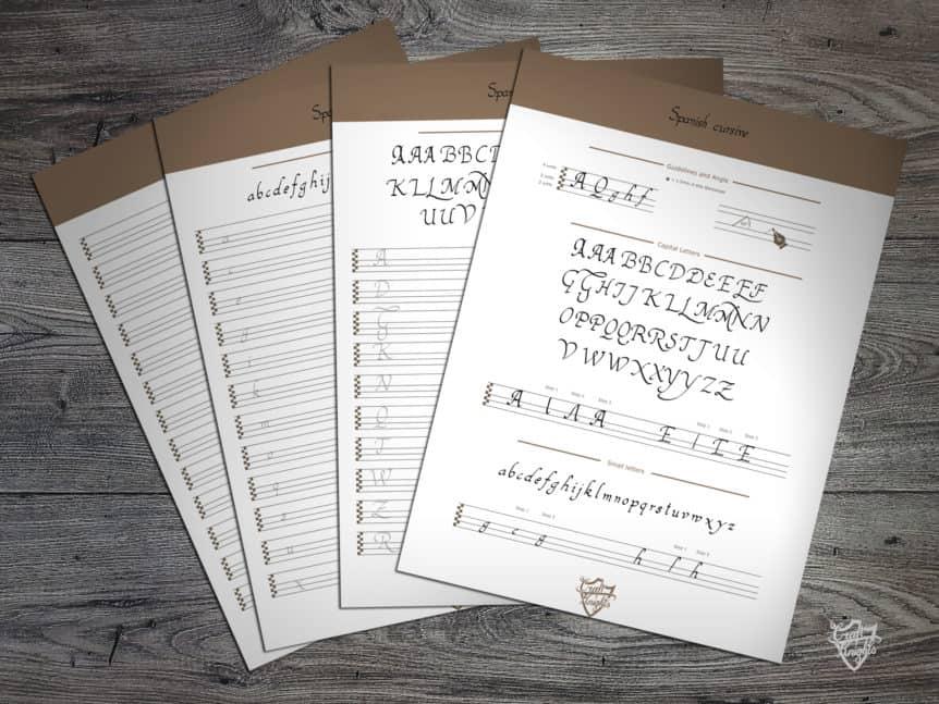 a free printable handwriting worksheet for the spanish cursive script. Black Bedroom Furniture Sets. Home Design Ideas