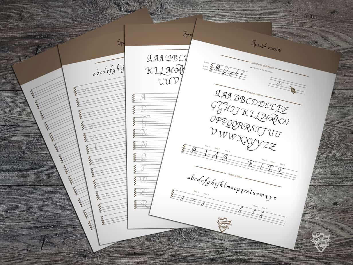 A free printable handwriting worksheet for the Spanish Cursive script