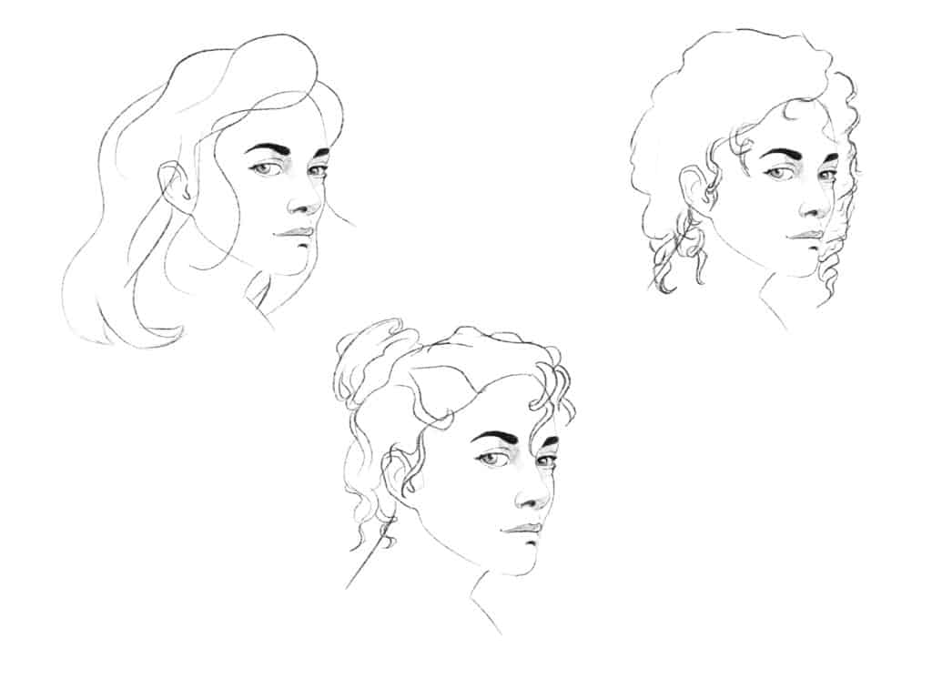 How to draw curly hair step 2