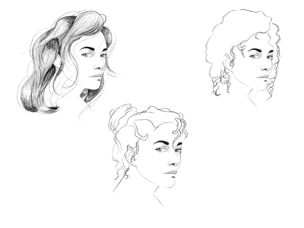 How to draw curly hair step 3
